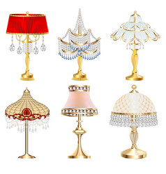 a set table lamps fixtures with crystal vector image