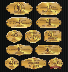 anniversary golden labels collection 40 years vector image