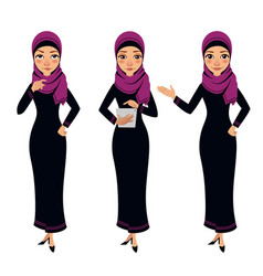 Arab business woman character different poses vector