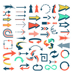 Arrow icons set arrowheads direction or vector
