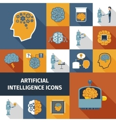 Artificial intelligence icons set vector