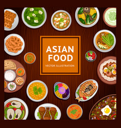 Asian food national dishes on a wooden background vector