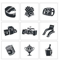 Auto Racing Icons Set vector image