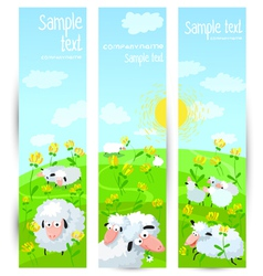 banners with sheeps vector image