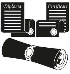 black and white graduation scroll silhouette set vector image