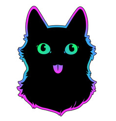 black cat on a multicolored rainbow background vector image