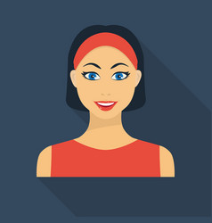 black hair woman icon in flate style isolated on vector image