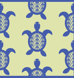 blue openwork turtle seamless green pattern vector image