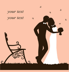 Bride and groom wedding card with newlyweds on a vector