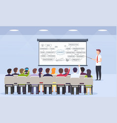 business person teacher teaches a lecture for vector image