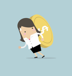 businesswoman carrying big and heavy gold coin vector image