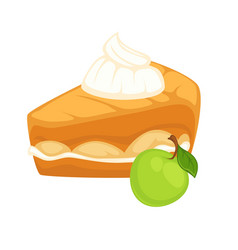 cake with apple jam and tender whipped cream vector image
