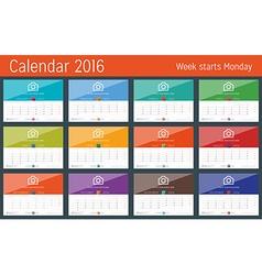 Calendar 2016 Design Template Set of 12 Months vector image