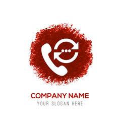 Call to user icon - red watercolor circle splash vector