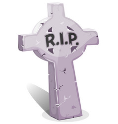 Cartoon christian tombstone with rip vector