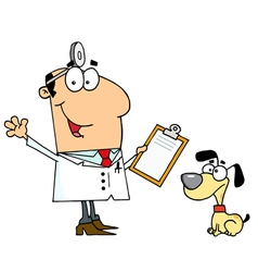Caucasian Cartoon Dog Veterinarian Man vector image