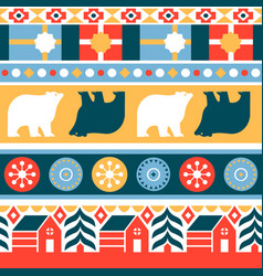 christmas traditional folk retro seamless pattern vector image