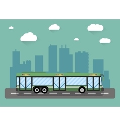City bus in front of houses vector