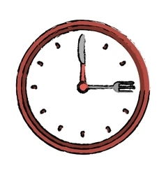 Clock time dinner restaurant fork and knife vector