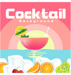 cocktail glass of cocktail beach sunset background vector image