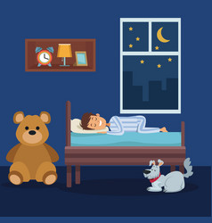 Colorful scene boy sleep in bedroom with pet dog vector