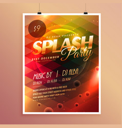 colorful splash party invitation flyer poster vector image