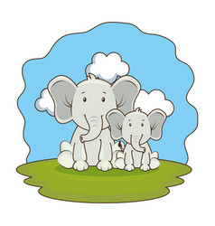 Cute elephants couple in the camp vector