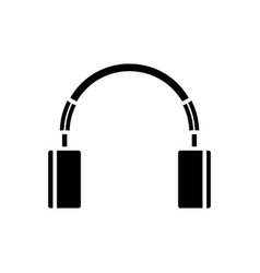 cute headphones icon black vector image