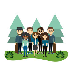 cute women and men friends together vector image