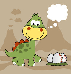 Dinosaurs with its eggs on volcanoes background vector
