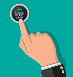 engine start and stop button and hand vector image