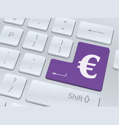 euro sign on white computer keyboard vector image