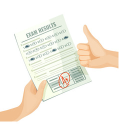 Excellent exam results on paper in human hands vector