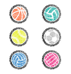 fingerprint outline sport balls color vector image
