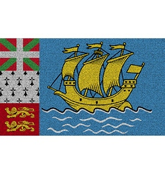 Flags Saint Pierre Miquelon on denim texture vector