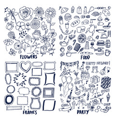 Food frames flowers party set of cute sketches vector