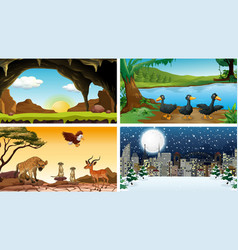 Four background scenes in set vector