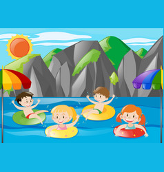 Four kids swimming in the river vector