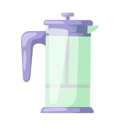 French press for making coffee and tea kitchenware vector