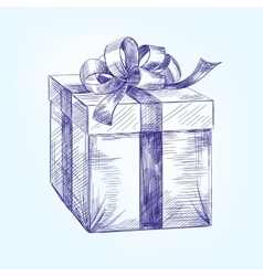 gift box hand drawn llustration sketch vector image