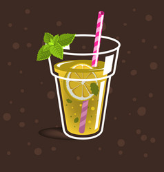 Glass filled up with homemade lemonade vector