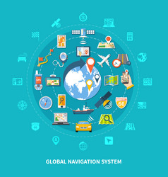 Global navigation icons set vector