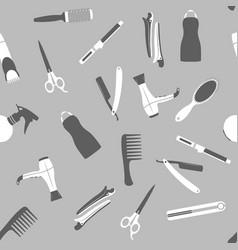Gray barber shop seamless pattern vector