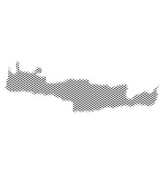 Halftone silver crete island map vector