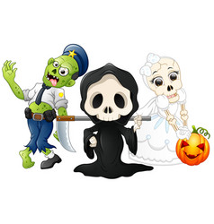 Halloween costumes kids with grim reaper skull br vector