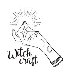 Hand drawn witch with snapping finger gesture vector