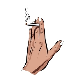 Hand with cigarette on a white background vector