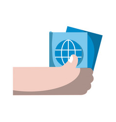 hand with passport to travel document id vector image