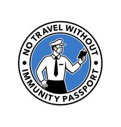 Immigration officer inspecting immunity passport vector