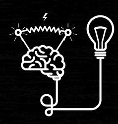 invention - electricity brain light bulb and vector image